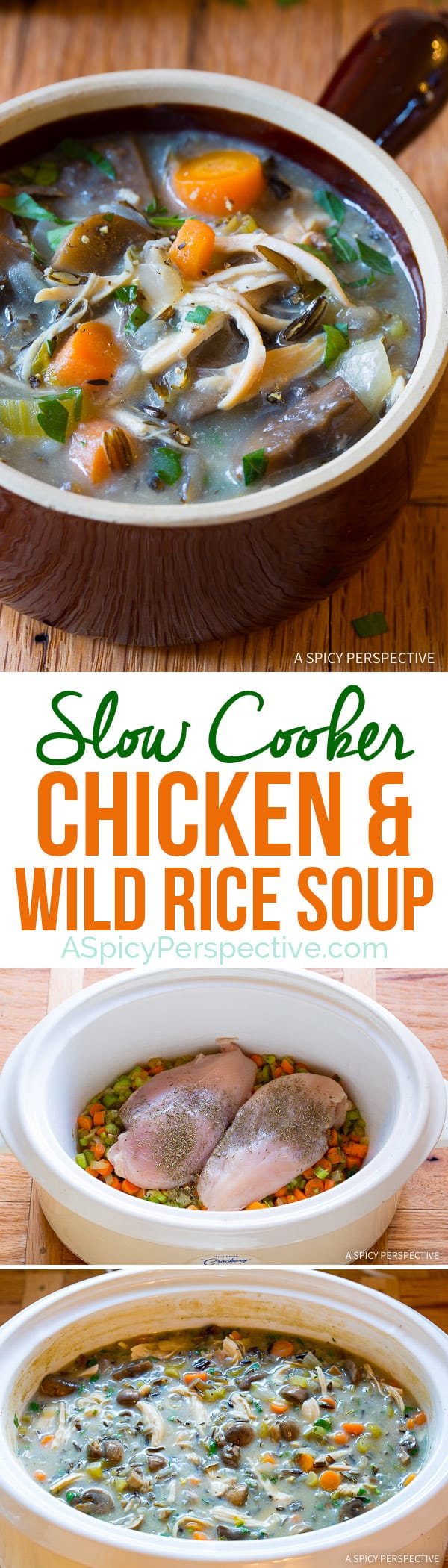 Perfect for January Diets! Healthy Slow Cooker Chicken Wild Rice Soup (Low Fat, Gluten Free, Dairy Free) | ASpicyPerspective.com