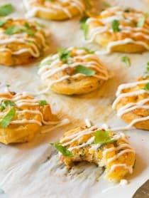 Hot Cheesy Chicken Enchilada Pinwheel Recipe | ASpicyPerspective.com