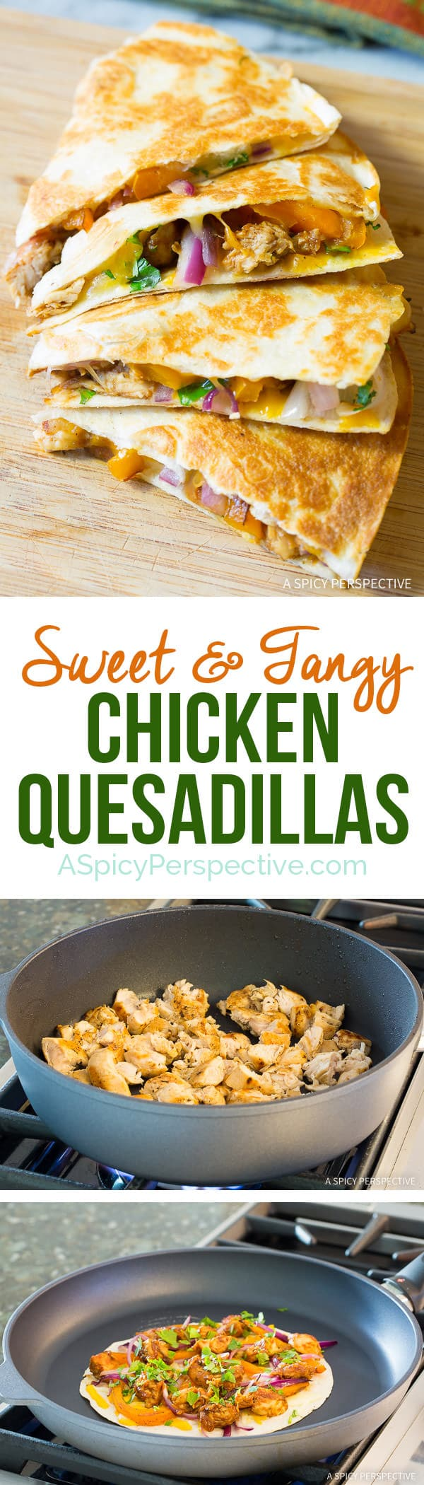 Great for Super Bowl! 10-Ingredient Sweet and Tangy Chicken Quesadillas Recipe | ASpicyPerspective.com