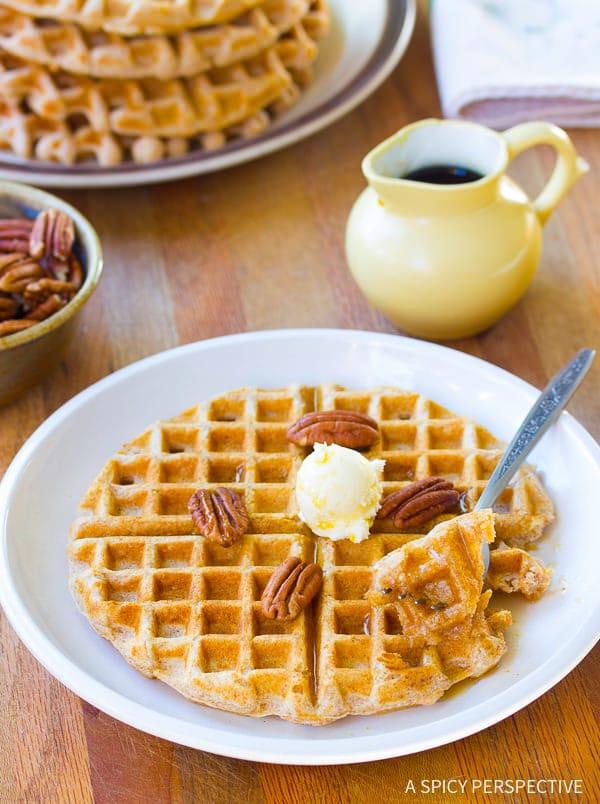 Healthy Spelt Waffles | ASpicyPerspective.com