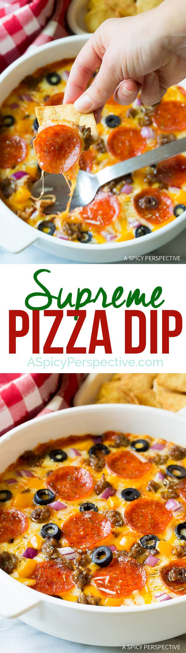 Try this easy 10-Ingredient Supreme Pizza Dip - Perfect for Super Bowl and can be made in the slow cooker! | ASpicyPerspective.com