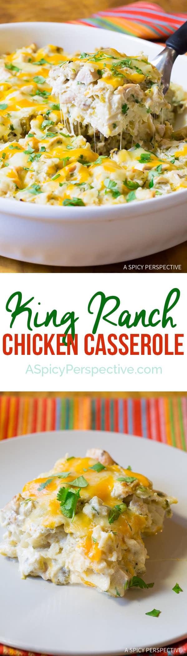 Cheesy Zesty King Ranch Chicken Casserole Recipe | ASpicyPerspective.com