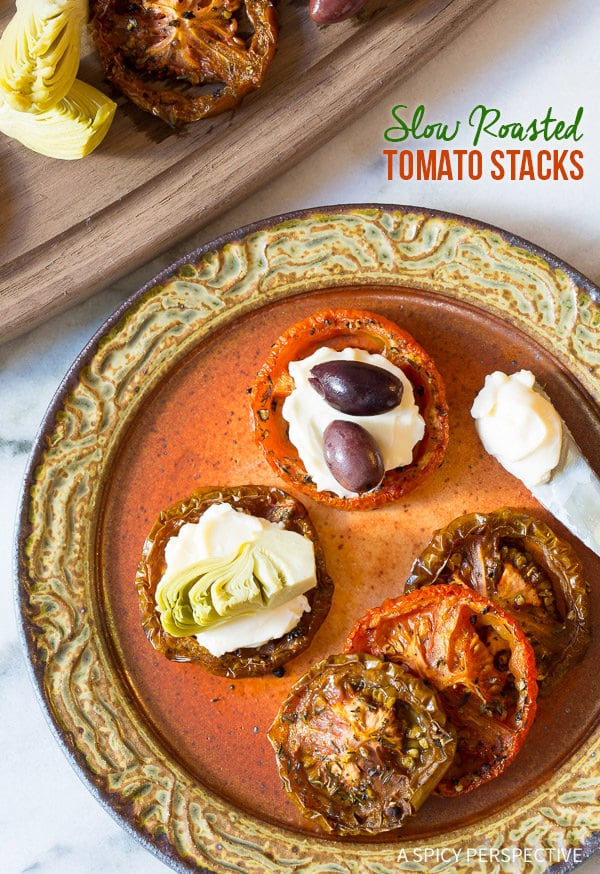 Savory Roasted Tomatoes Stacks | ASpicyPerspective.com (Healthy and Gluten Free)