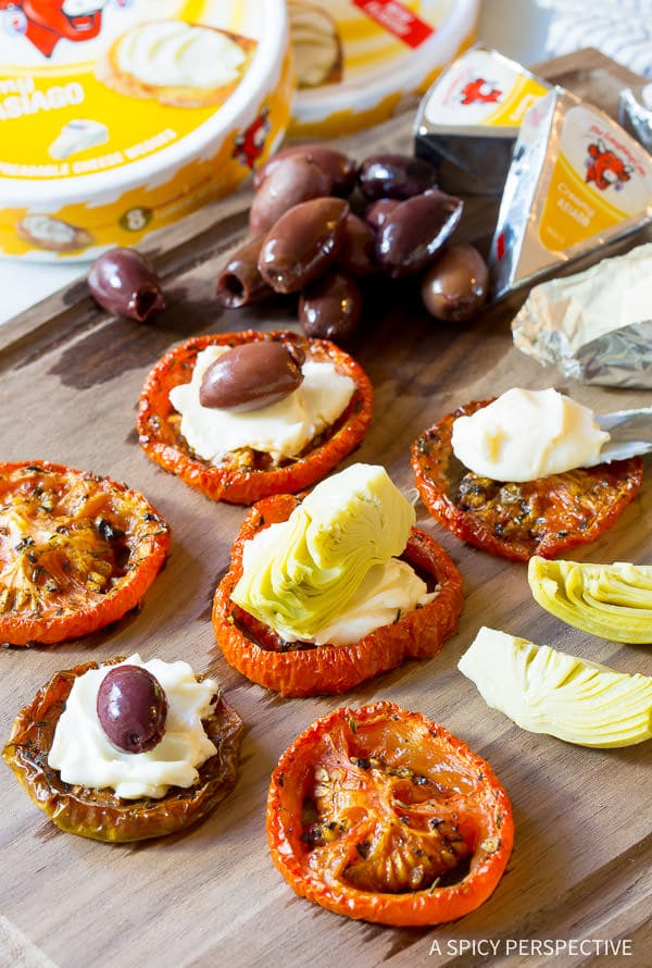 Fabulous Oven Roasted Tomato Stack Snacks  ASpicyPerspective.com