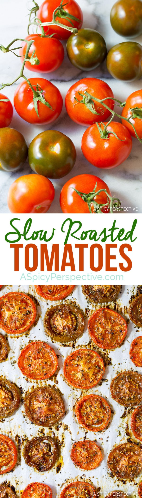 Easy Sweet and Savory Oven Roasted Tomatoes | ASpicyPerspective.com