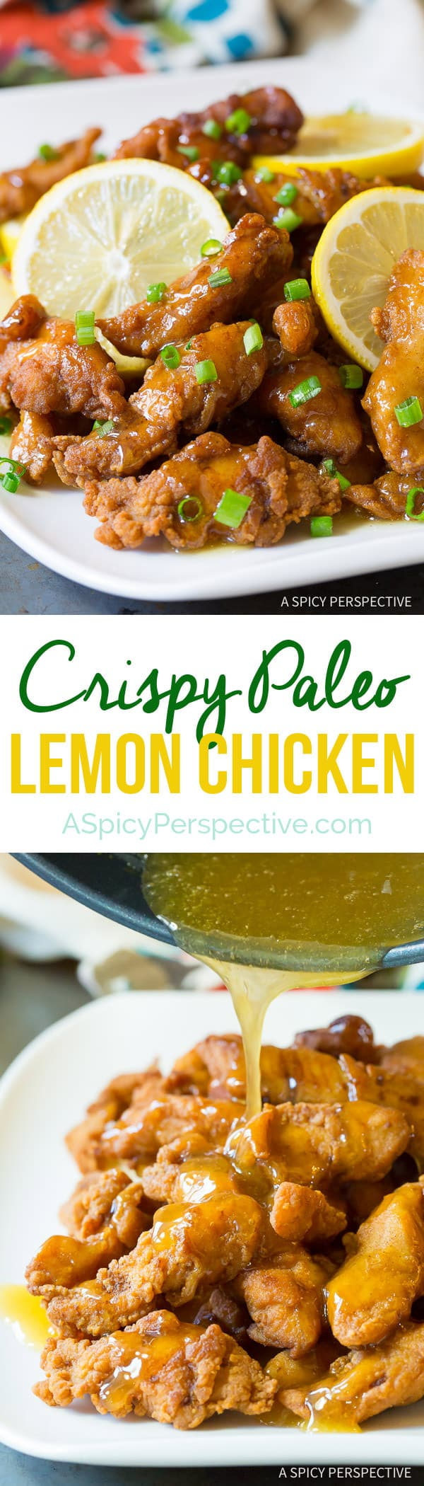 Crazy over this Lightened-Up Chinese Lemon Chicken Recipe (Paleo & Gluten Free!) | ASpicyPerspective.com