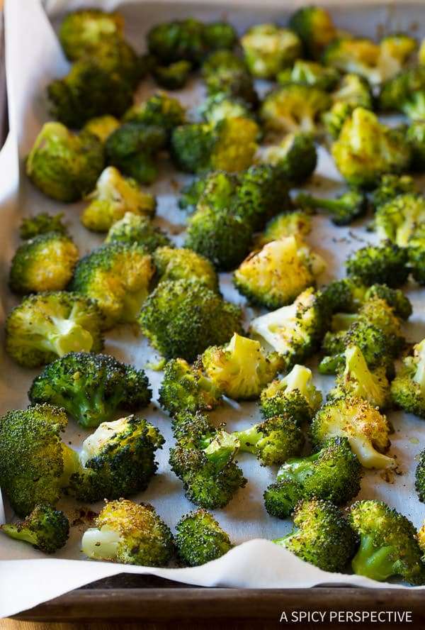 Oven Roasted Broccoli Recipe #ASpicyPerspective #Vegetarian #OvenRoasted #LowCarb #Healthy #Broccoli #Vegan