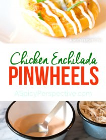 Great for Super Bowl! 7-Ingredient Chicken Enchilada Pinwheel Recipe | ASpicyPerspective.com