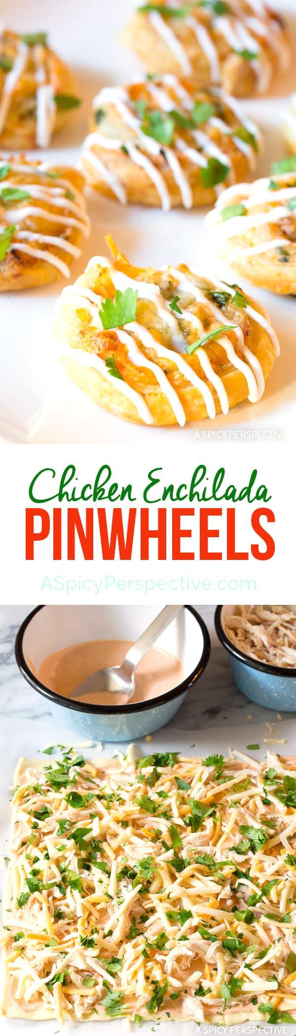 Great for Super Bowl! 7-Ingredient Chicken Enchilada Pinwheel Recipe | ASpicyPerspective.com