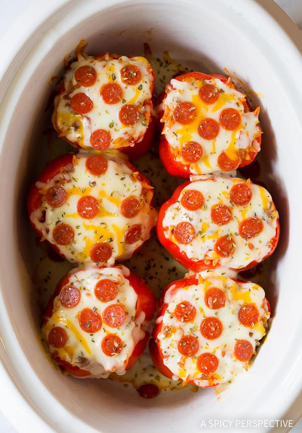 Fabulous PIZZA Slow Cooker Stuffed Peppers (Great for Super Bowl!) | ASpicyPerspective.com