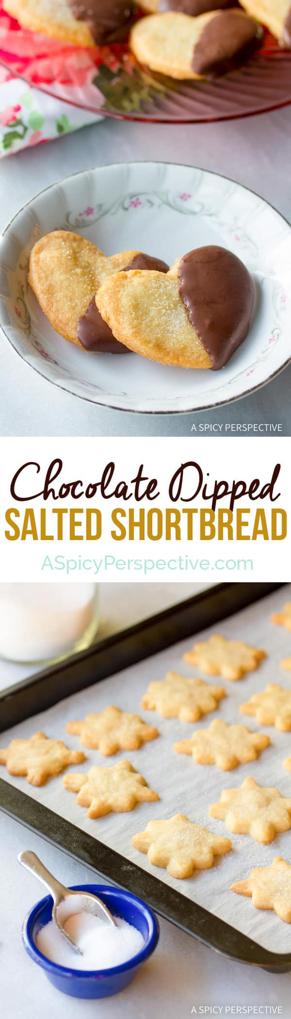 Easy Chocolate Dipped Salty Shortbread Cookies | ASpicyPerspective.com (Great for any holiday!)