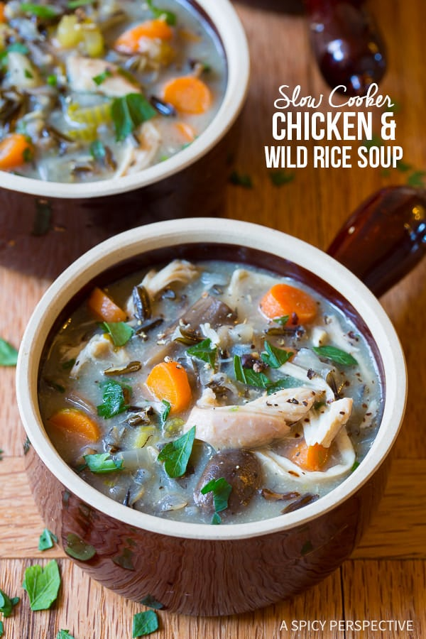 Crazy Over This Healthy Slow Cooker Chicken Wild Rice Soup (Low Fat, Gluten Free, Dairy Free) | ASpicyPerspective.com