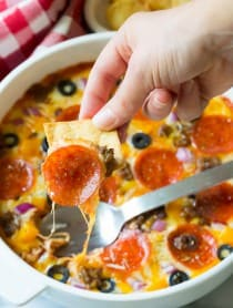 10-Ingredient Supreme Pizza Dip - Perfect for Super Bowl! | ASpicyPerspective.com