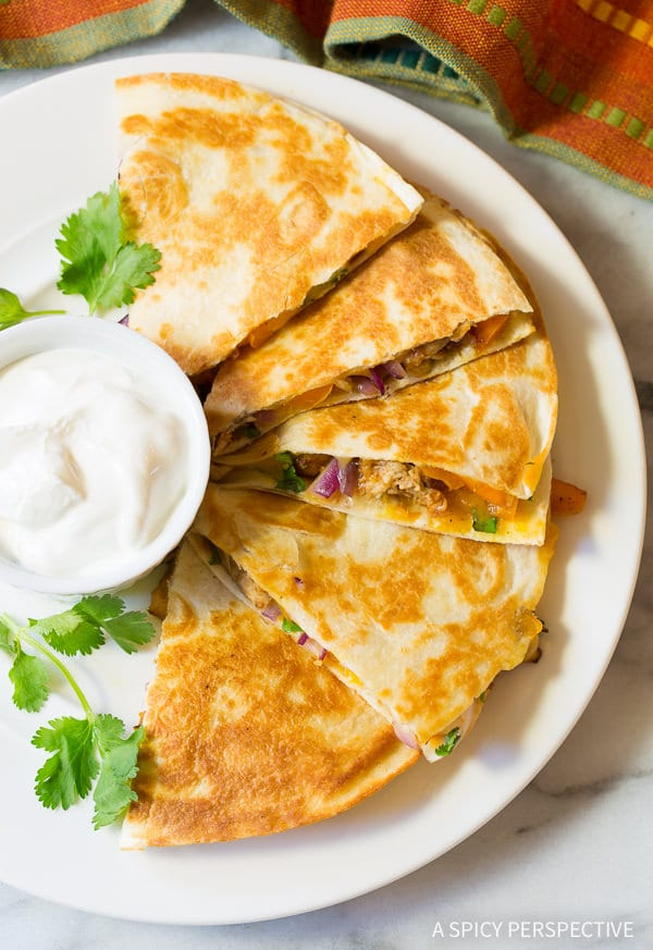 Super Bowl Favorite! 10-Ingredient Sweet and Tangy Chicken Quesadillas Recipe | ASpicyPerspective.com