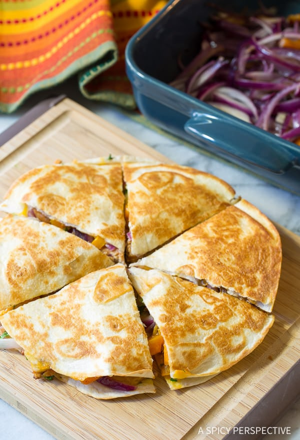 How to Make Sweet and Tangy Chicken Quesadillas Recipe | ASpicyPerspective.com