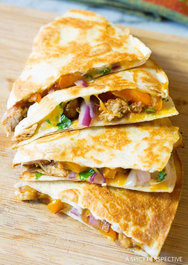 ... Sweet and Tangy Chicken Quesadillas Recipe | ASpicyPerspective.com