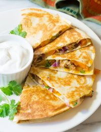 Sweet and Tangy Chicken Quesadillas Recipe | ASpicyPerspective.com