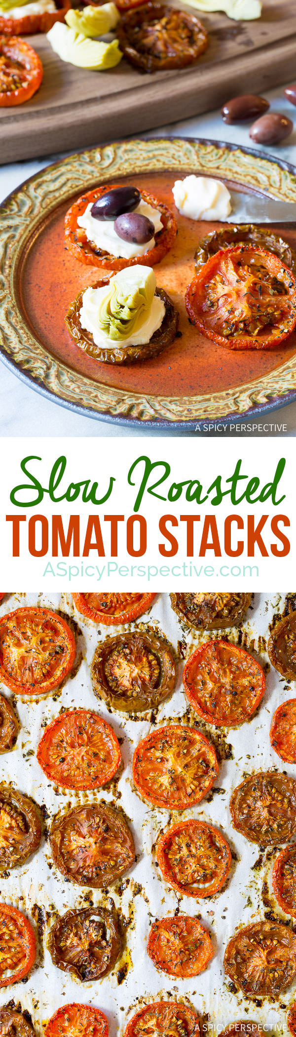 Dazzling Oven Roasted Tomato Stack Snacks | ASpicyPerspective.com
