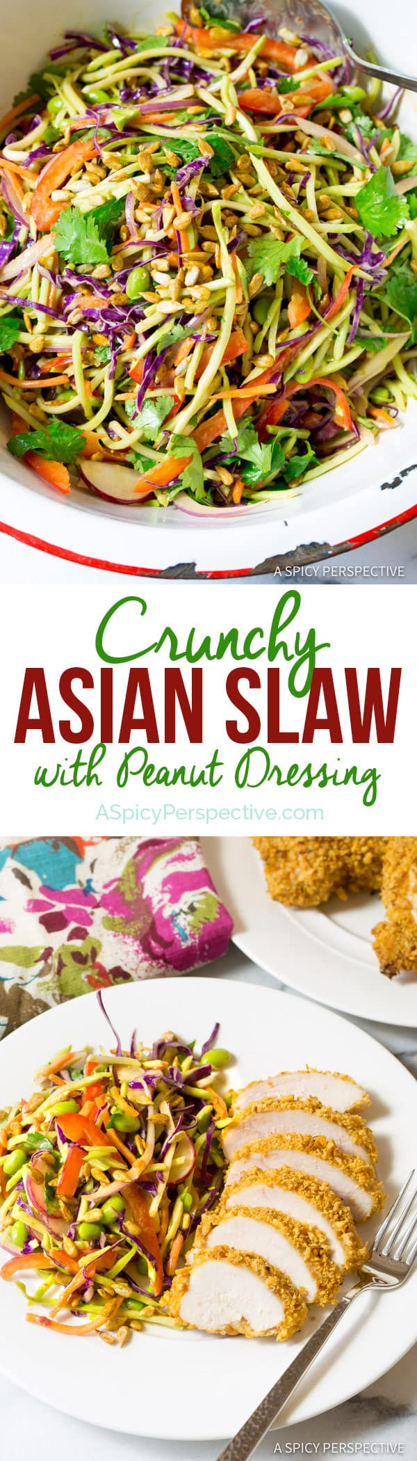 Colorful Crunchy Asian Slaw Recipe with Peanut Dressing | ASpicyPerspective.com