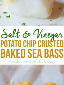 3-Ingredient Salt and Vinegar Potato Chip Crusted Baked Sea Bass Recipe | ASpicyPerspective.com