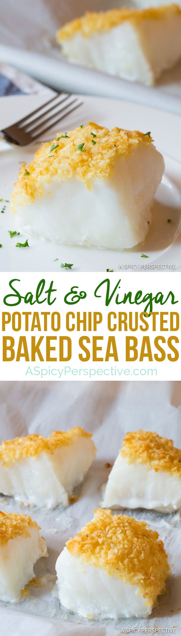 3-Ingredient Salt and Vinegar Potato Chip Crusted Baked Sea Bass Recipe (Healthy Fish and Chips!) | ASpicyPerspective.com