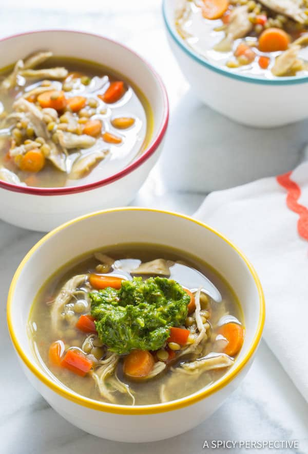 Vibrant Slow Cooker Chimichurri Chicken Lentil Soup | ASpicyPerspective.com