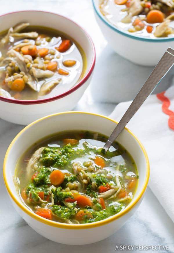 Slow Cooker Chimichurri Chicken Lentil Soup | ASpicyPerspective.com