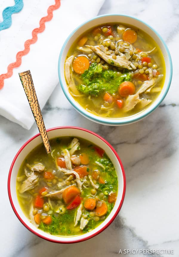 Crockpot Chimichurri Chicken Lentil Soup | ASpicyPerspective.com