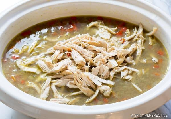 Simple Slow Cooker Chimichurri Chicken Lentil Soup | ASpicyPerspective.com