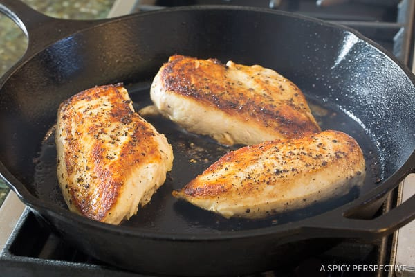 Easy Creamy Roasted Red Pepper Chicken Skillet Recipe | ASpicyPerspective.com