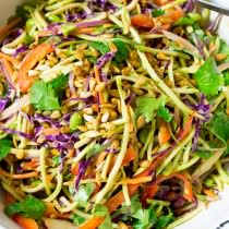 Crunchy Asian Slaw Recipe with Peanut Dressing | ASpicyPerspective.com