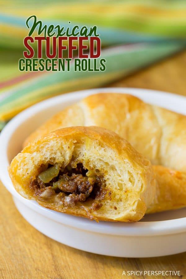 5-ingredient Mexican Stuffed Crescent Rolls Recipe | ASpicyPerspective.com