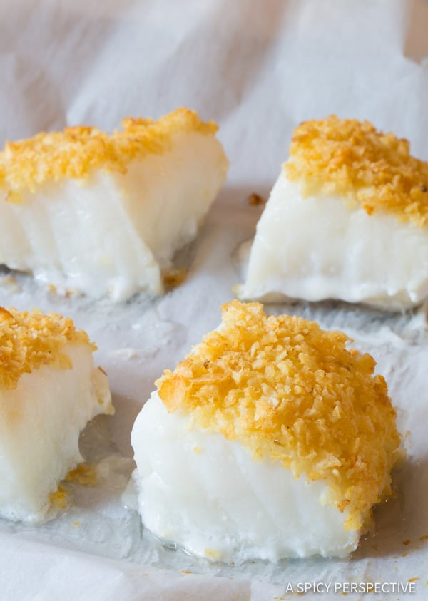 Must-Try Salt and Vinegar Potato Chip Crusted Baked Sea Bass Recipe (Healthy Fish and Chips!) | ASpicyPerspective.com