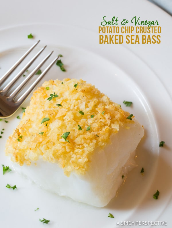 Potato Chip Crusted Baked Sea Bass - A Spicy Perspective