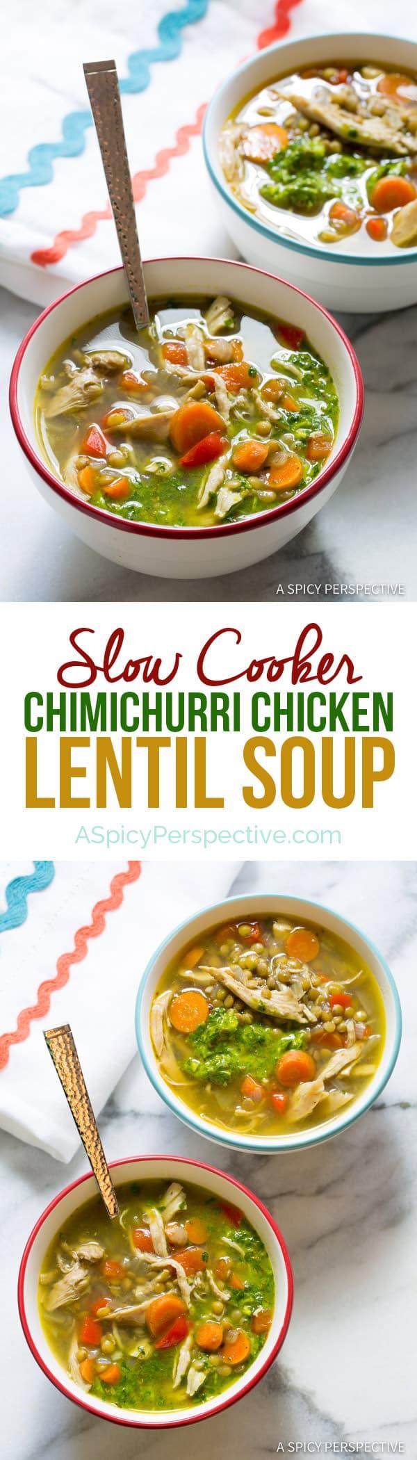 Healthy Slow Cooker Chimichurri Chicken Lentil Soup | ASpicyPerspective.com