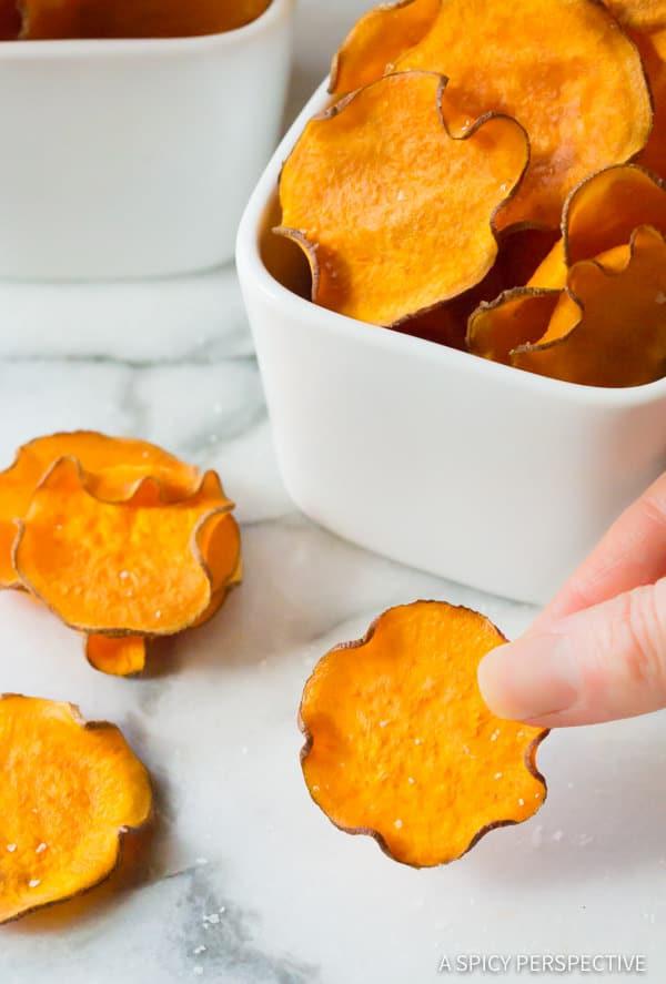 3-Ingredient Baked Sweet Potato Chips Recipe (Vegan, Paleo & Gluten Free!) | ASpicyPerspective.com