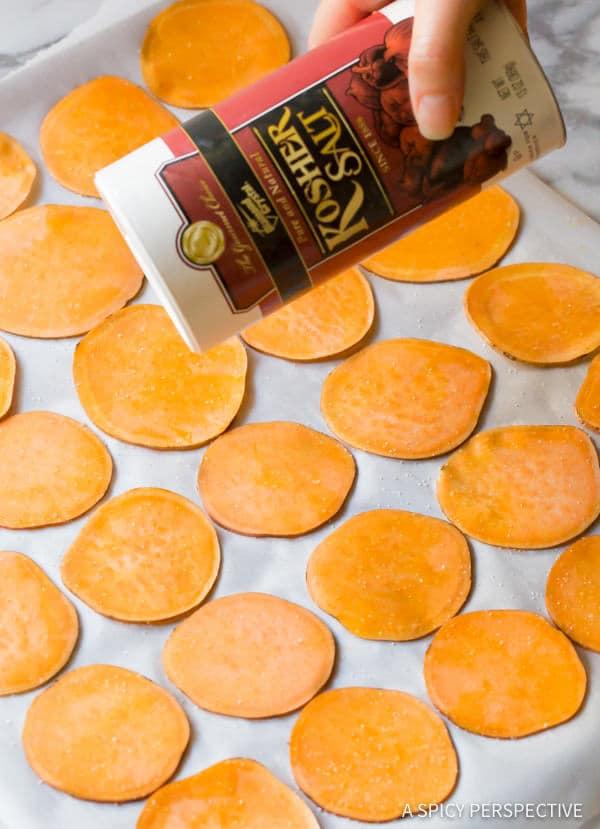 Easy Baked Sweet Potato Chips Recipe (Vegan, Paleo & Gluten Free!) | ASpicyPerspective.com