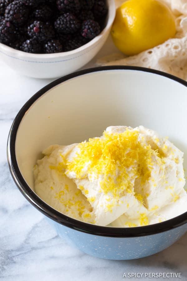Creamy Blintz Pancakes Recipe with Blackberry Sauce | ASpicyPerspective.com