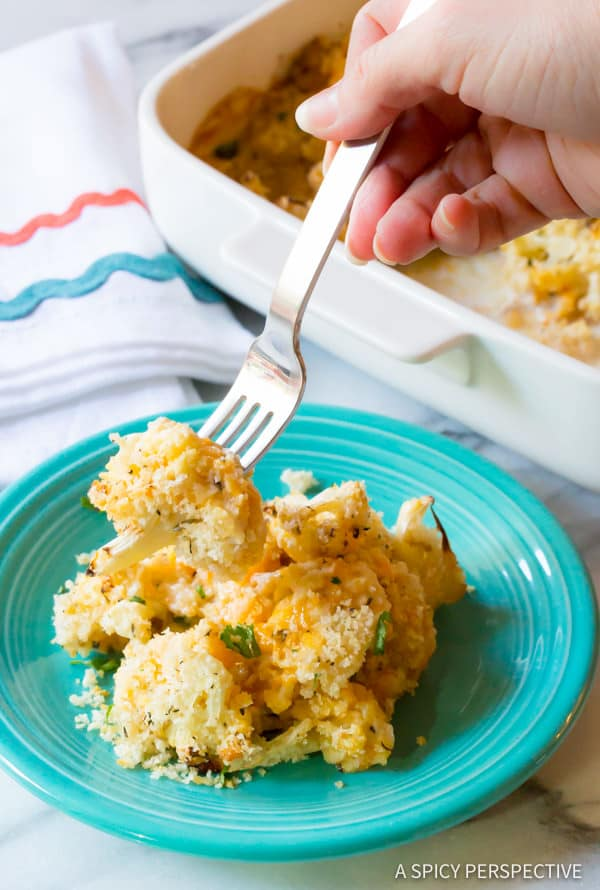 Cheesy Cauliflower Gratin Recipe | ASpicyPerspective.com
