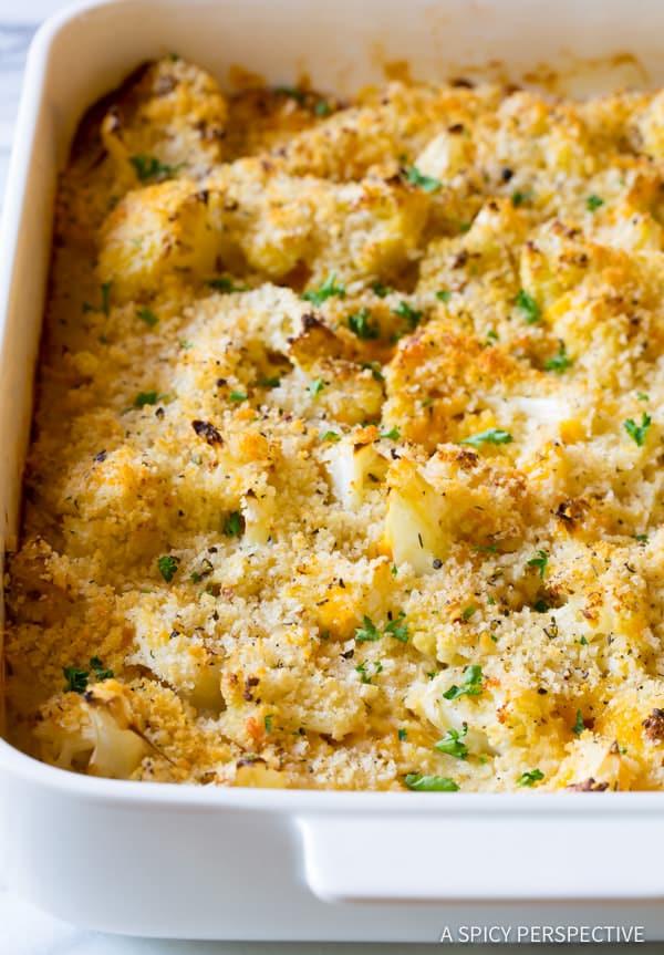 The Best Cheesy Cauliflower Gratin Recipe | ASpicyPerspective.com