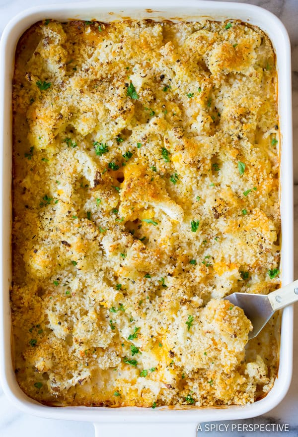 AWESOME Cheesy Cauliflower Gratin Recipe | ASpicyPerspective.com