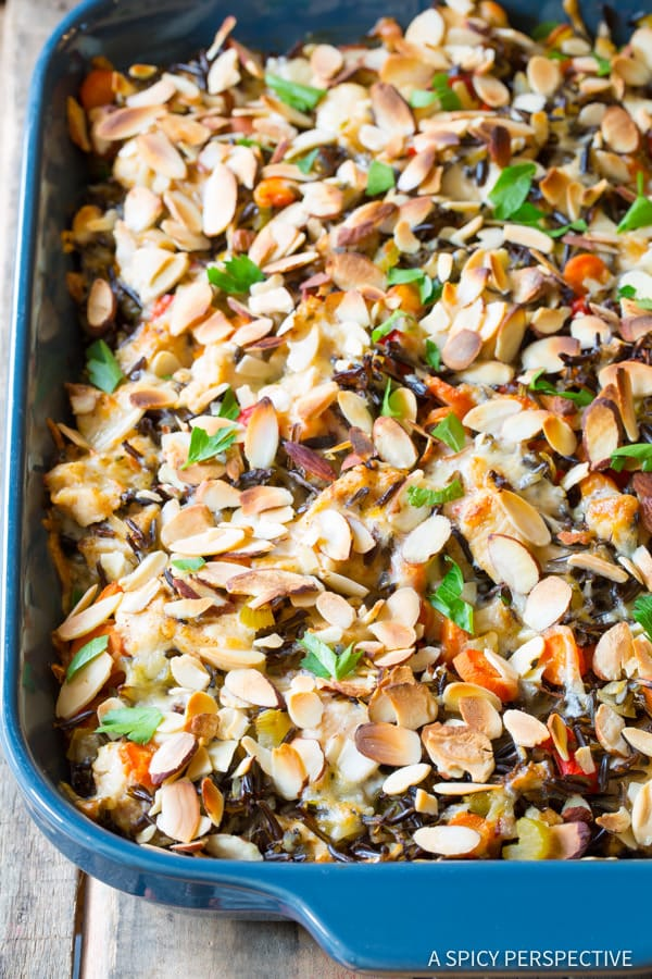 The Best Cheesy Chicken Wild Rice Casserole (Gluten Free!) | ASpicyPerspective.com