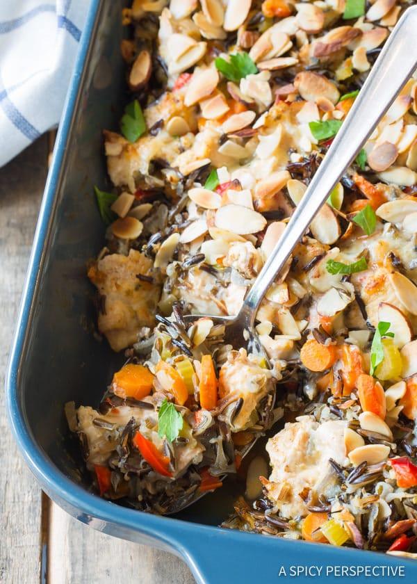 Creamy Cheesy Chicken Wild Rice Casserole (Gluten Free!) | ASpicyPerspective.com