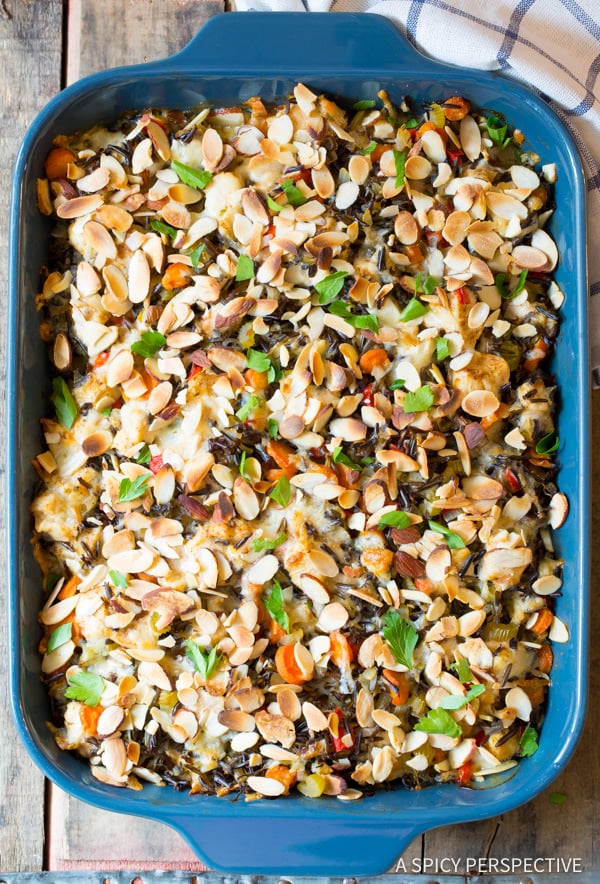Awesome Cheesy Chicken Wild Rice Casserole (Gluten Free!) | ASpicyPerspective.com