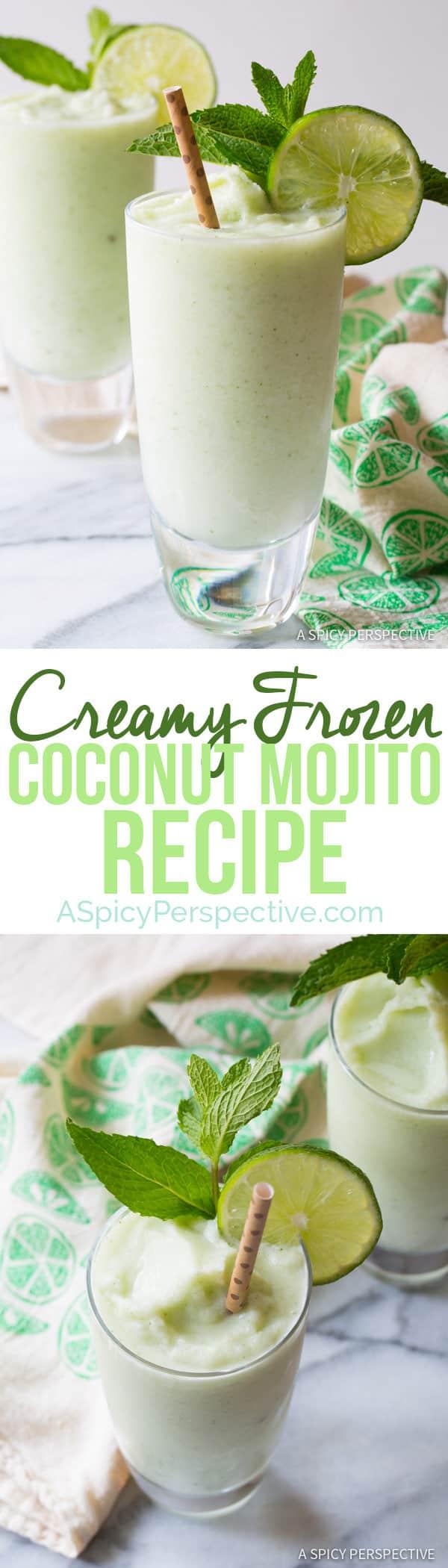 The Best Frozen Coconut Mojito | ASpicyPerspective.com