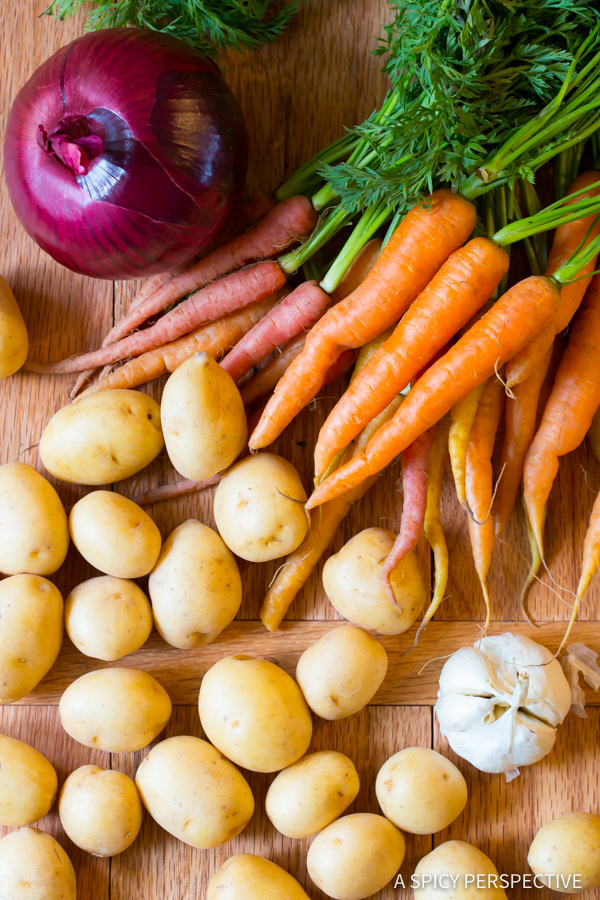 Making Crock Pot Pork Loin with Vegetables and Gravy   ASpicyPerspective.com