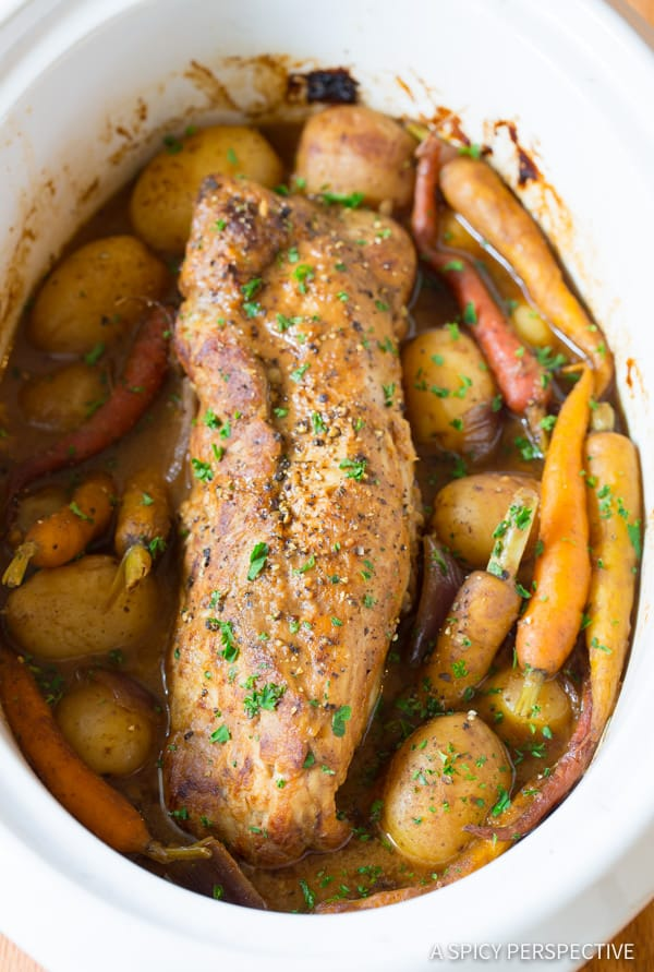 AWESOME Crock Pot Pork Loin with Vegetables and Gravy | ASpicyPerspective.com