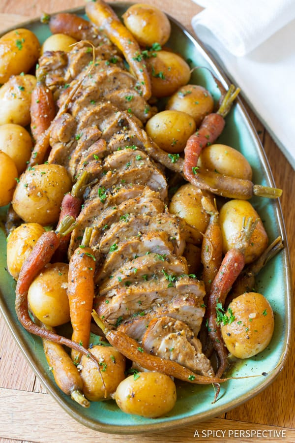 Rich and Savory Crock Pot Pork Loin with Vegetables and Gravy   ASpicyPerspective.com