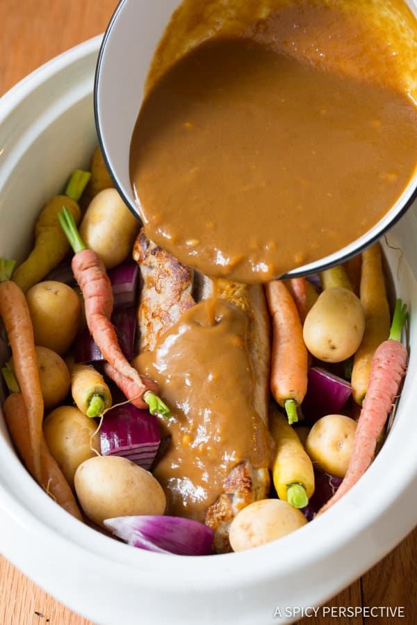 Easy to Make Crock Pot Pork Loin with Vegetables and Gravy | ASpicyPerspective.com