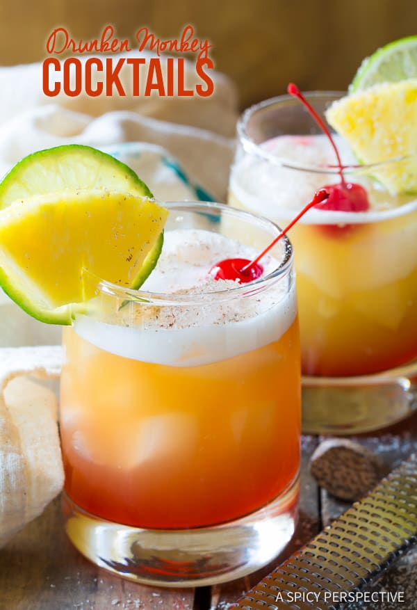 Fabulous Drunken Monkey Cocktails | ASpicyPerspective.com